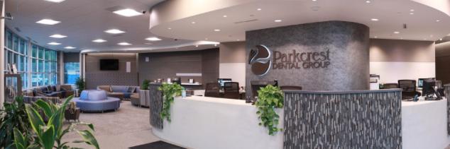 Wide photo of Parkcrest Dental Group lobby.
