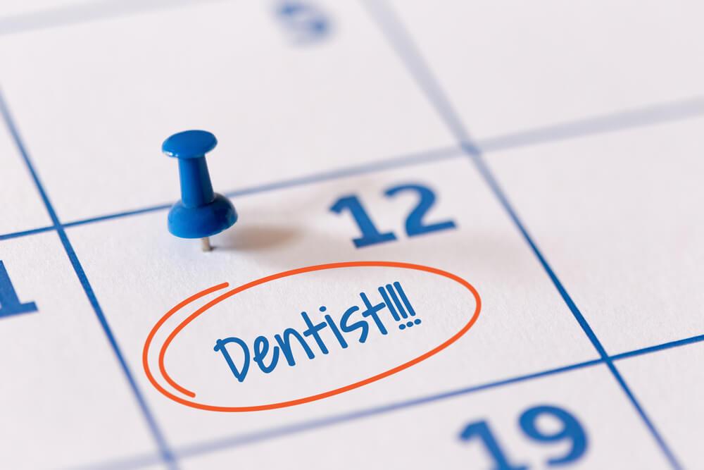 Calendar showing scheduled visit to pediatric dentist