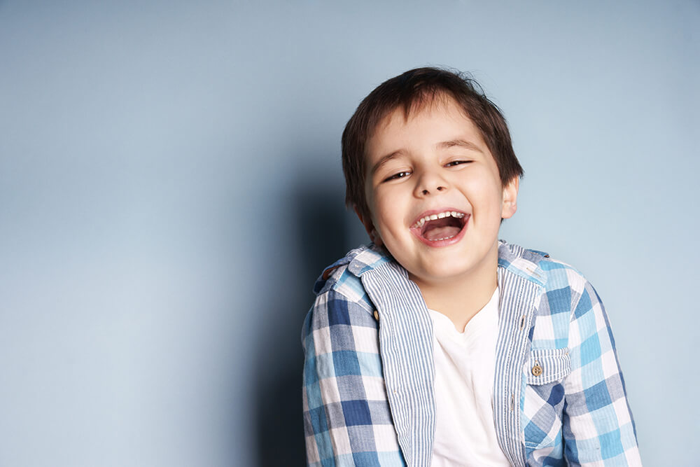 A child laughing.