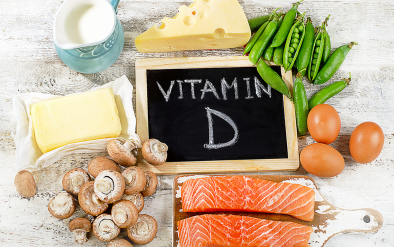 Piles of food that are high in vitamin D
